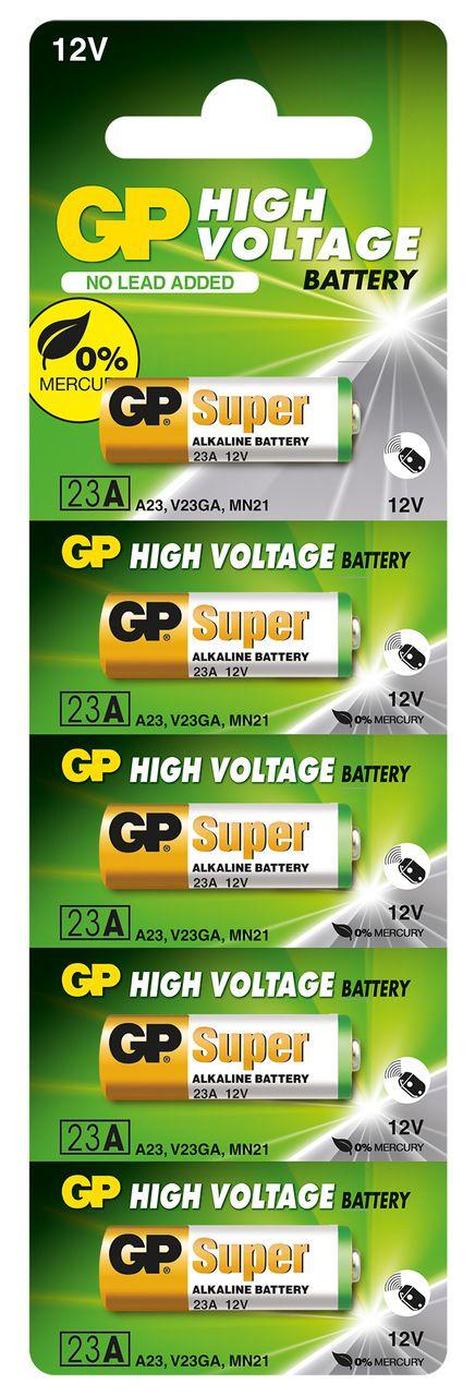 05 Pilhas Baterias 23A 12V A23 Alcalina GP Super Controle Alarme Portão - 01 cartela com 5 unidades
