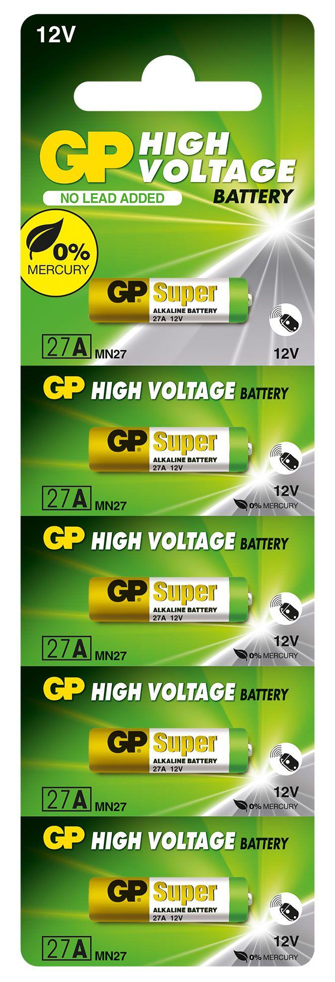 50 Pilhas Baterias 27A 12V Alcalina GP Super Controle Alarme Portão - 10 cartelas com 5 unidades cada