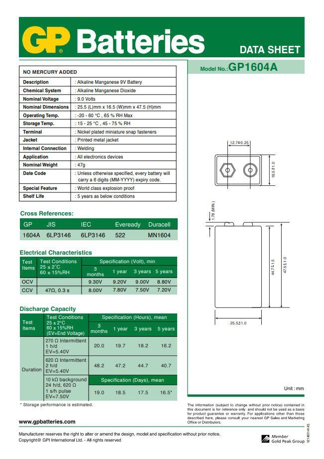 10 Pilhas Baterias 9V Alcalina GP Super - 10 cartelas com 1 unidade