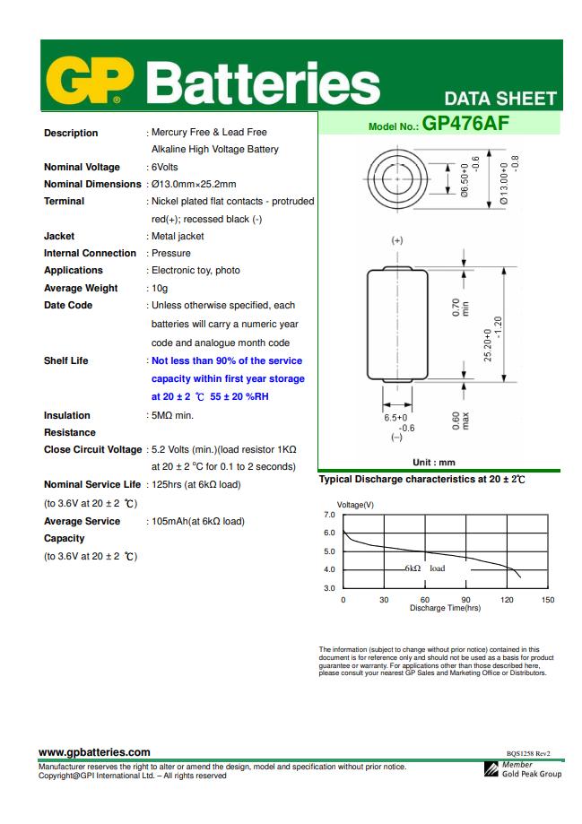 20 Pilhas Baterias 4LR44 / 910A 6V Alcalina Super GP p/ coleira anti latido - 20 cartelas com 1 unidade cada