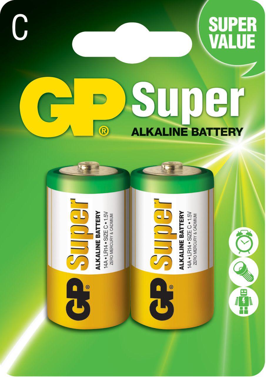 02 Pilhas C Média LR14 Alcalina GP Super - 01 Cartela com 2 unidades