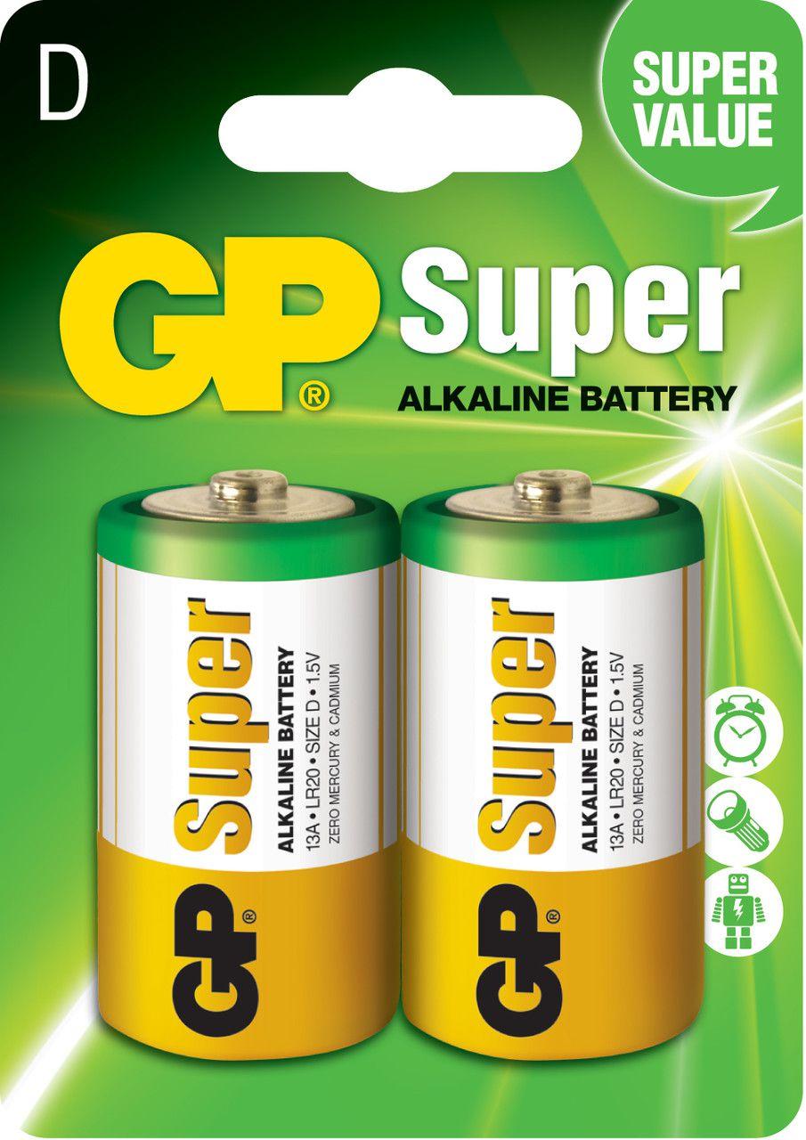 02 Pilhas D Grande LR20 Alcalina GP Super - 01 Cartela com 2 unidades