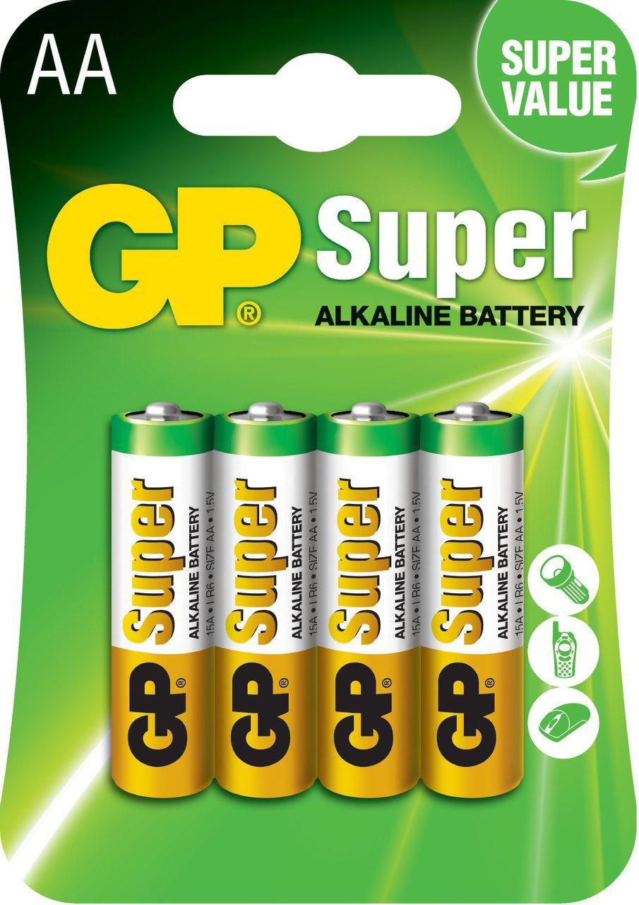 12 Pilhas AA Alcalina Super GP - 03 cartelas com 4 unidades cada