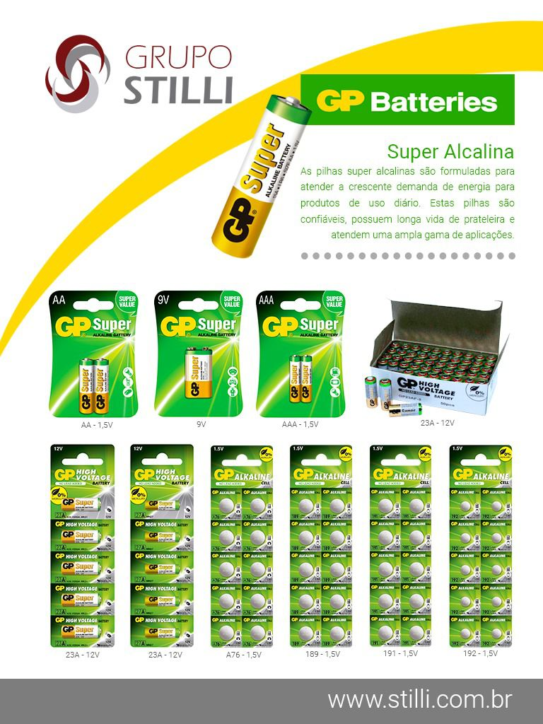 16 Pilhas AA Alcalina Super GP - 04 cartelas com 4 unidades cada