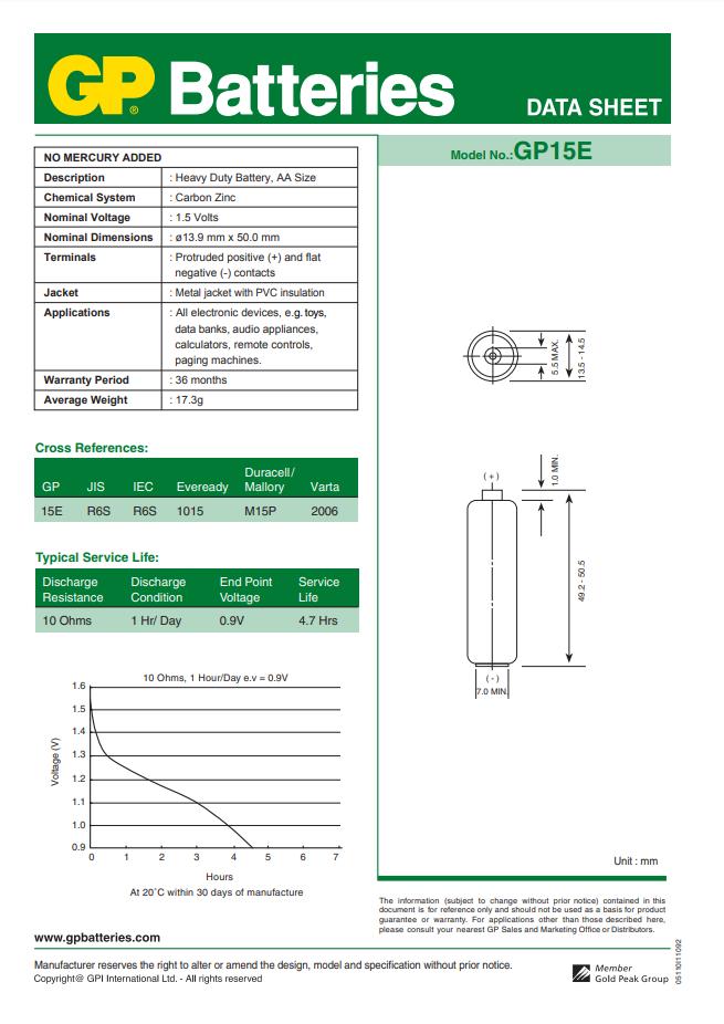360 Pilhas AA Comum PowerPlus GP Zinco Carvão - 06 caixas com 60 unidades cada