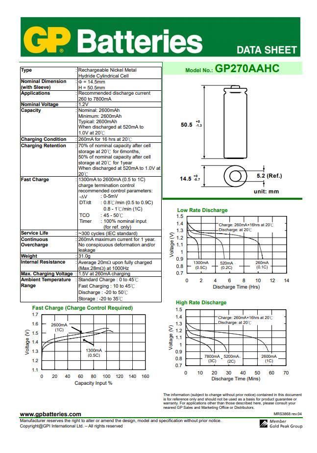10 Pilha Bateria AA Recarregável 2700mAh GP Recyco 5 cartela