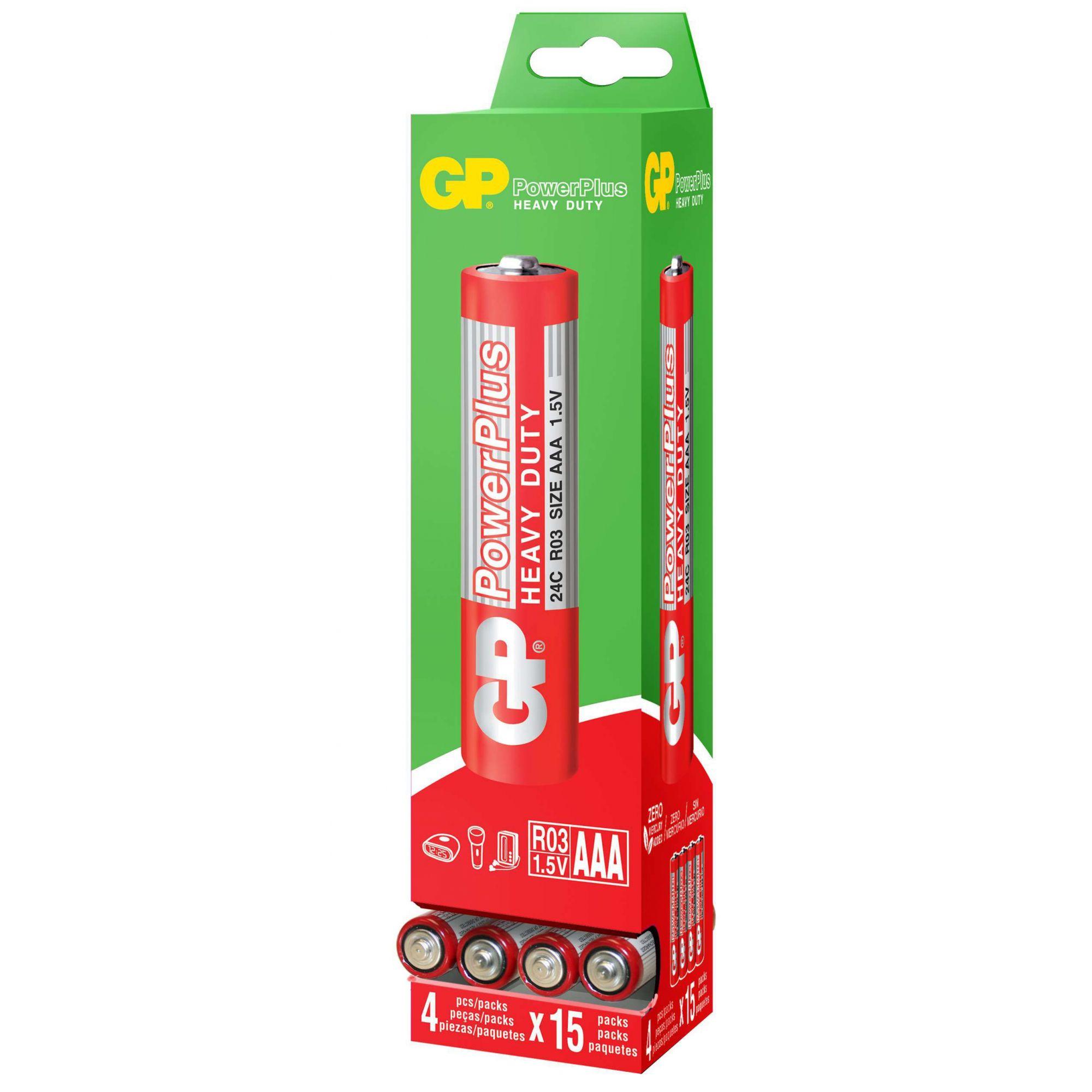 240 Pilhas AAA Comum PowerPlus GP Zinco Carvão - 04 caixas com 60 unidades cada