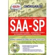 Apostila Concurso SAA-SP - ASS. AGROPECUÁRIO e ASS. TÉCNICO DE PESQUISA CIENTÍFICA E TECNOLÓGICA (COMUM)-( Editora Opção )