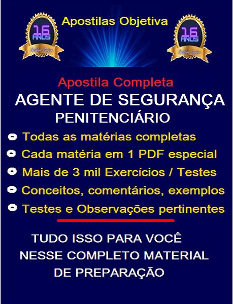 AGENTE DE SEGURANÇA PENITENCIÁRIO - MG - Apostila PDF - 2.1  - Apostilas Objetiva