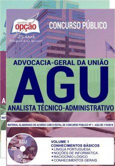 AGU - Apostilas ANALISTA TÉCNICO-ADMINISTRATIVO e ADMINISTRADOR -1.8   - Apostilas Objetiva