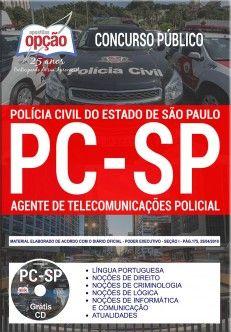 Apostila -Impressa-Concurso AGENTE DE TELECOMUNICAÇÕES POLÍCIA CIVIL - SP.  - Apostilas Objetiva