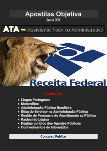 Ministério da Fazenda-ATA-Assistente Técnico Administrativo-Apostila em PDF-2020-2021  - Apostilas Objetiva