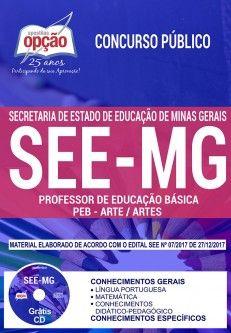 Apostila Concurso Professores MG 2018   Professor de Educação Básica - Peb - Arte / Artes ( Editora Opção )  - Apostilas Objetiva