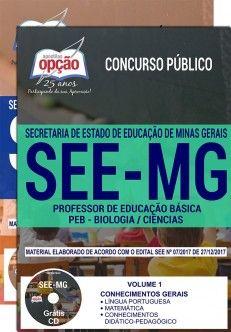 Apostila Concurso Professores MG 2018 | Professor de Educação Básica - Peb - Biologia / Ciências ( Editora Opção )  - Apostilas Objetiva