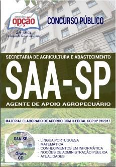 Apostila Concurso SAA-SP - AGENTE DE APOIO AGROPECUÁRIO.  - Apostilas Objetiva