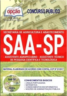 Apostila Concurso SAA-SP - ASS. AGROPECUÁRIO e ASS. TÉCNICO DE PESQUISA CIENTÍFICA E TECNOLÓGICA (COMUM).  - Apostilas Objetiva