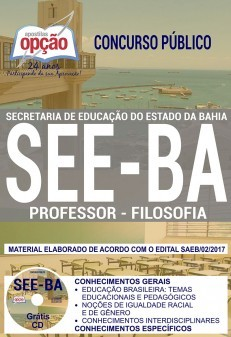 Apostila Concurso SEE - BA - Professor - Filosofia ( Editora Opção )  - Apostilas Objetiva