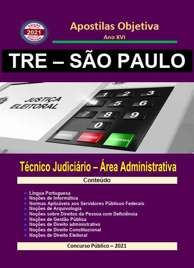 Apostila-Concurso-TRE-SÃO PAULO-2021-em-PDF-Técnico-Judiciário-Administrativa  - Apostilas Objetiva