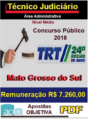 Apostila Concurso TRT 24ª Região - MATO GROSSO DO SUL 2016/2017 - Técnico Judiciário  - Apostilas Objetiva
