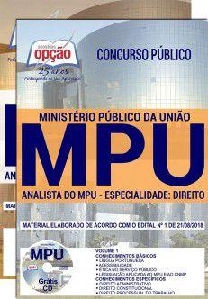APOSTILA IMPRESSA CONCURSO MPU - ANALISTA-2018   - Apostilas Objetiva