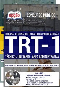 Apostila IMPRESSA-TRT- 1ª -RIO DE JANEIRO -Técnico Jud. Administrativa-1.8  - Apostilas Objetiva