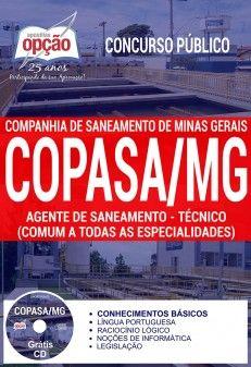 Concurso COPASA 2018 | Apostila - AGENTE DE SANEAMENTO - TÉCNICO (COMUM A TODAS ESPECIALIDADES) - IMPRESSA  - Apostilas Objetiva