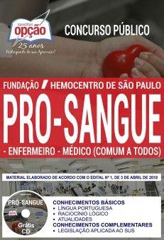 Concurso Fundação Pró-Sangue SP 2018 |  ENFERMEIRO E MÉDICO (COMUM A TODOS) - IMPRESSA  - Apostilas Objetiva