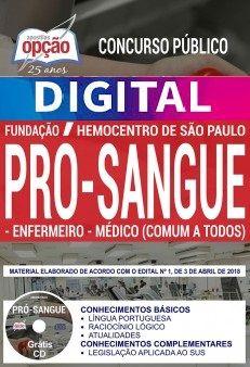 Concurso Fundação Pró-Sangue SP 2018 |  ENFERMEIRO E MÉDICO (COMUM A TODOS) - VERSÃO DIGITAL  - Apostilas Objetiva