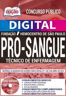 Concurso Fundação Pró-Sangue SP 2018 |  TÉCNICO DE ENFERMAGEM - VERSÃO DIGITAL  - Apostilas Objetiva