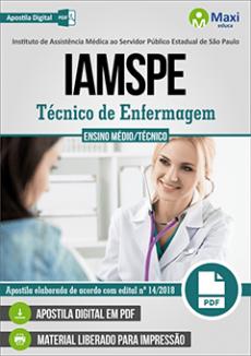 Concurso IAMSPE - 2018 | TÉCNICO DE ENFERMAGEM - VERSÃO DIGITAL  - Apostilas Objetiva