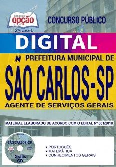 Concurso Prefeitura de São Carlos 2018 |  AGENTE DE SERVIÇOS GERAIS - IMPRESSA  - Apostilas Objetiva