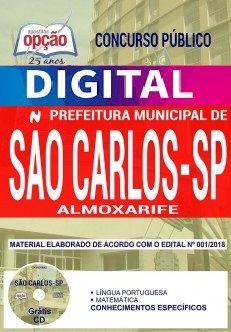 Concurso Prefeitura de São Carlos 2018 |  ALMOXARIFE - VERSÃO DIGITAL  - Apostilas Objetiva