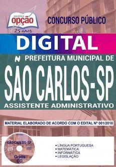 Concurso Prefeitura de São Carlos 2018 |  ASSISTENTE ADMINISTRATIVO - VERSÃO DIGITAL  - Apostilas Objetiva
