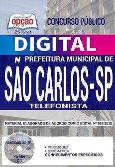 Concurso Prefeitura de São Carlos 2018 |  TELEFONISTA - VERSÃO DIGITAL  - Apostilas Objetiva