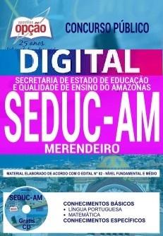 Concurso SEDUC AM 2018    MERENDEIRO - VERSÃO DIGITAL  - Apostilas Objetiva