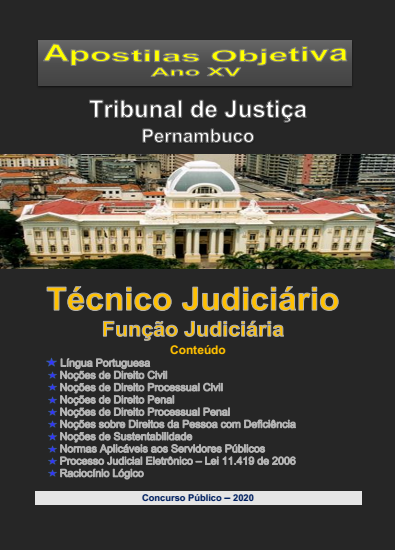 TJ PERNAMBUCO - Técnico Judiciário - Função JUDICIÁRIA-Apostila completa em PDF -2021  - Apostilas Objetiva