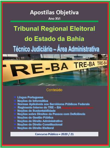 TRE Bahia-Concurso -2021 (Apostila em PDF) Técnico Judiciário-Administrativa   - Apostilas Objetiva