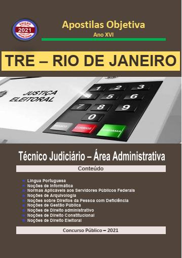 TRE RIO DE JANEIRO 2021 - Apostila em PDF - Completa Técnico Judiciário Administrativa  - Apostilas Objetiva