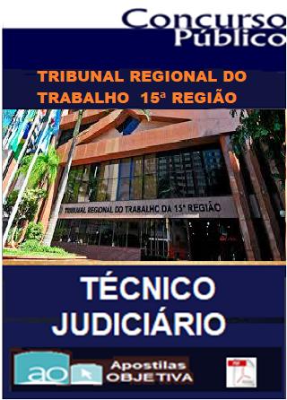 Apostila-TRT - 15ª Região-CAMPINAS - SP (em PDF) Técnico Jud. Administrativo-Concurso-1.8  - Apostilas Objetiva