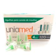 Agulha para Caneta de Insulina 4mm 32G Uniqmed c/100 Unidades