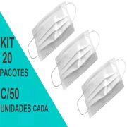 Máscara Cirúrgica Tripla Descartável c/ Elástico Talge - Kit 20 Pacotes c/50 Unds cada