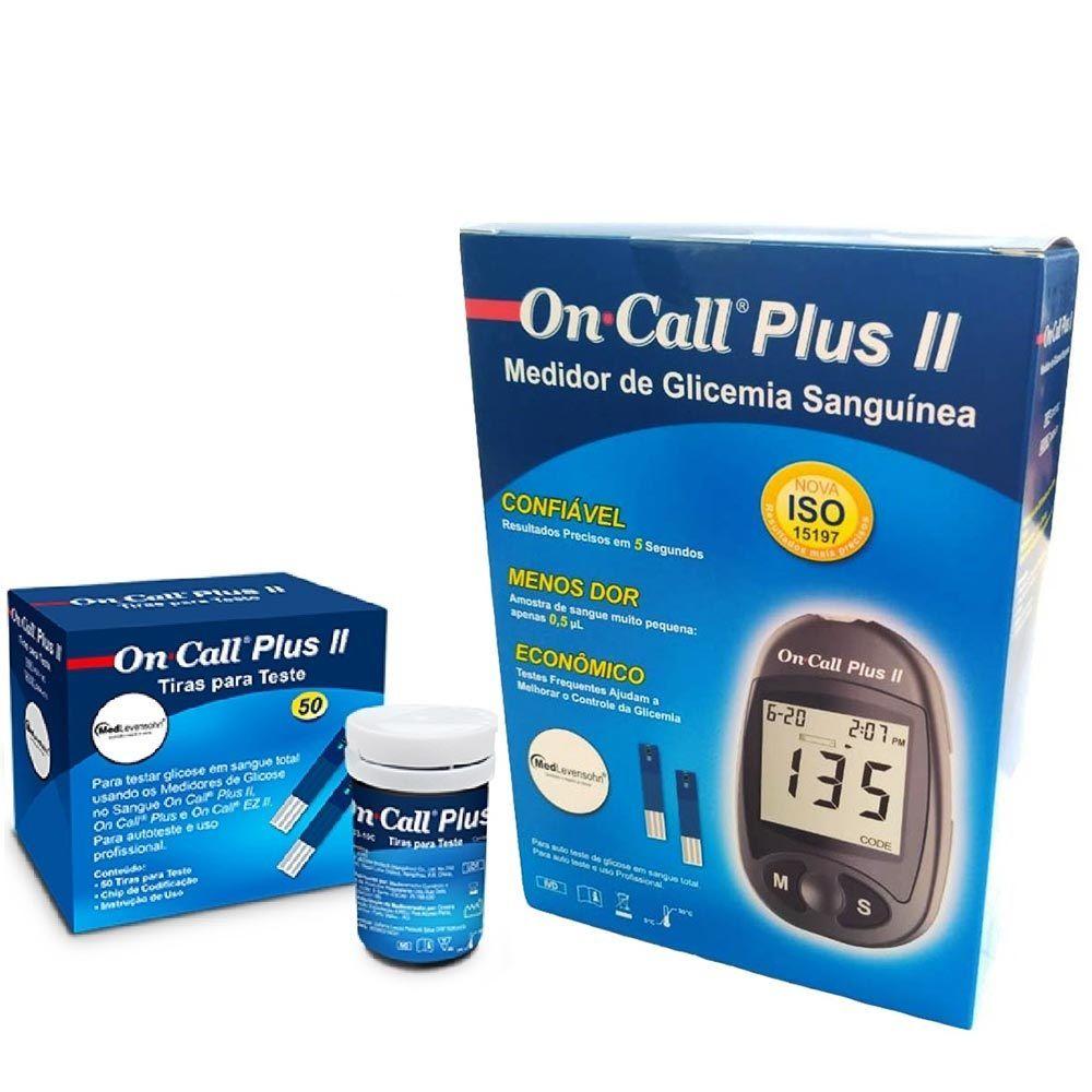Aparelho de Glicemia On Call Plus II + 50 Tiras Reagentes