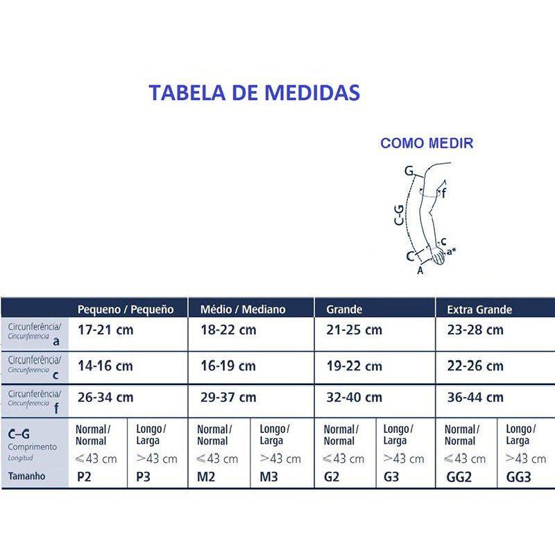 Braçadeira Sigvaris com Polegar 30-40mmHg Cor Natural Claro