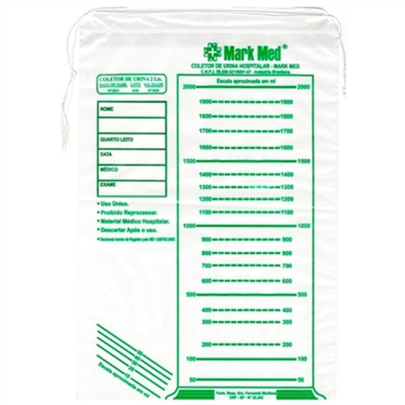 Coletor de urina hospitalar 2 litros /100 unidades- Mark Med