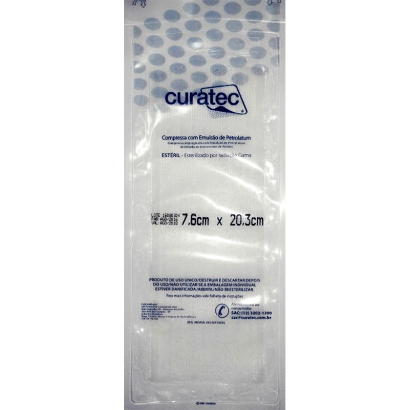 Compressa de Emulsão de Petrolatum Curatec 7,6cmX20,3cm