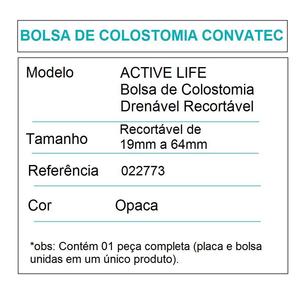 Convatec Bolsa de Colostomia Active Life Drenável Recortável- c/10 und