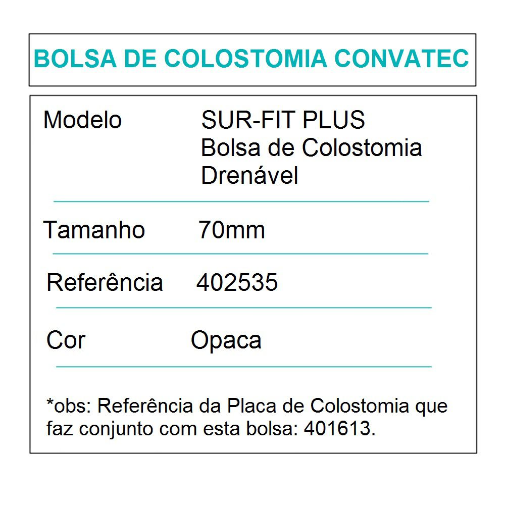 Convatec Bolsa de Colostomia Sur-Fit Plus Drenável 70mm- c/10 und