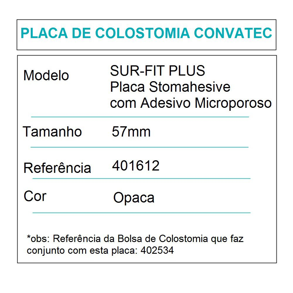 Convatec Placa de Colostomia Sur-Fit Plus Microporosa 57mm- c/05 und