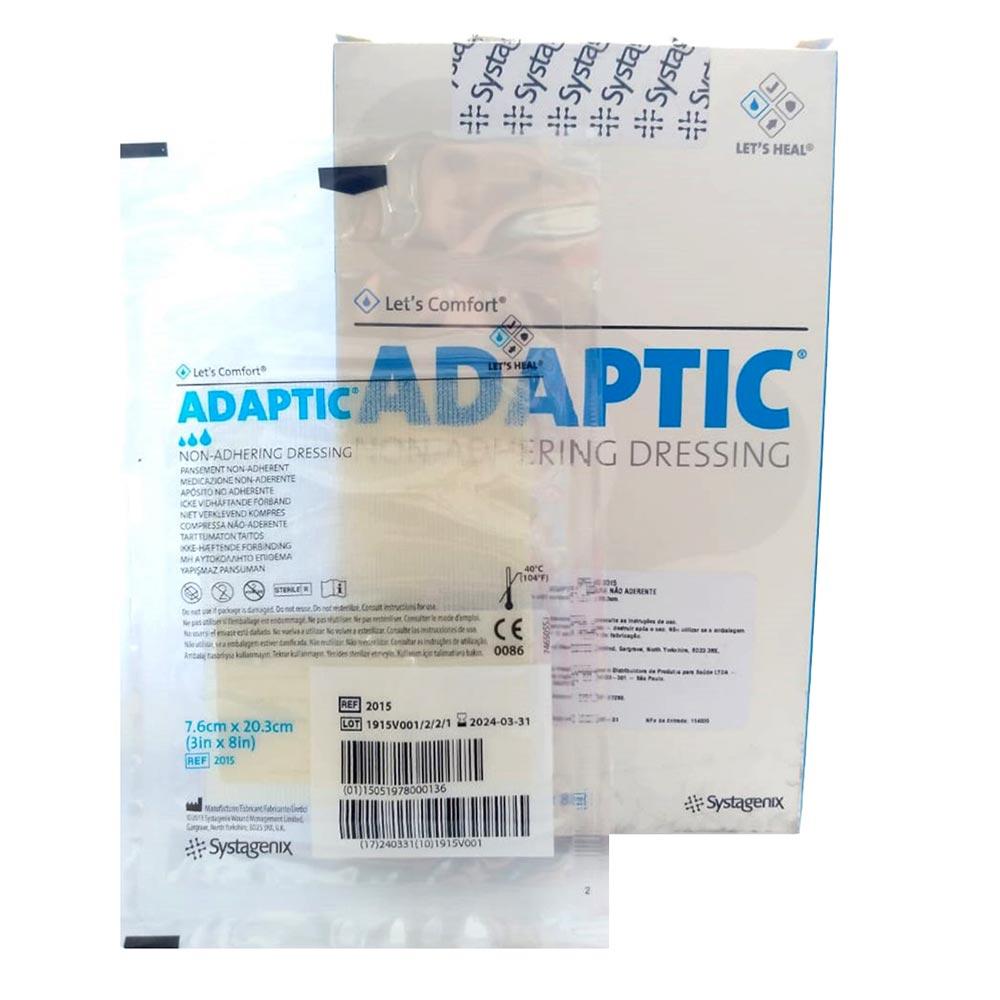 Curativo Adaptic Malha não Aderente Systagenix 7,6cmX20,3cm- Kit c/12 Unidades
