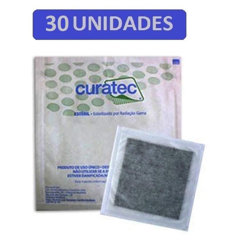 Curativo Carvão Ativado com Prata Curatec 10,5X10,5- Kit c/30 Unidades